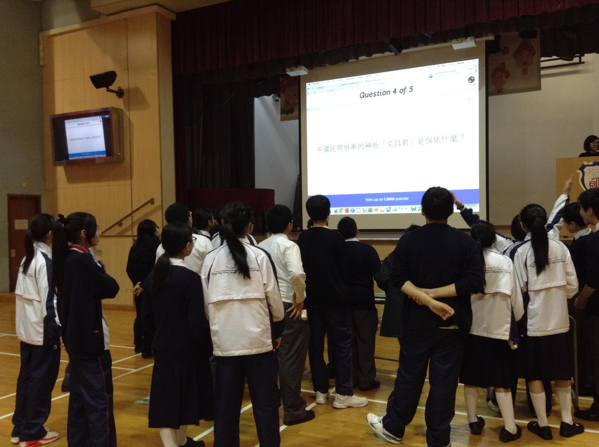 Students are queuing for the interesting and exciting activity.