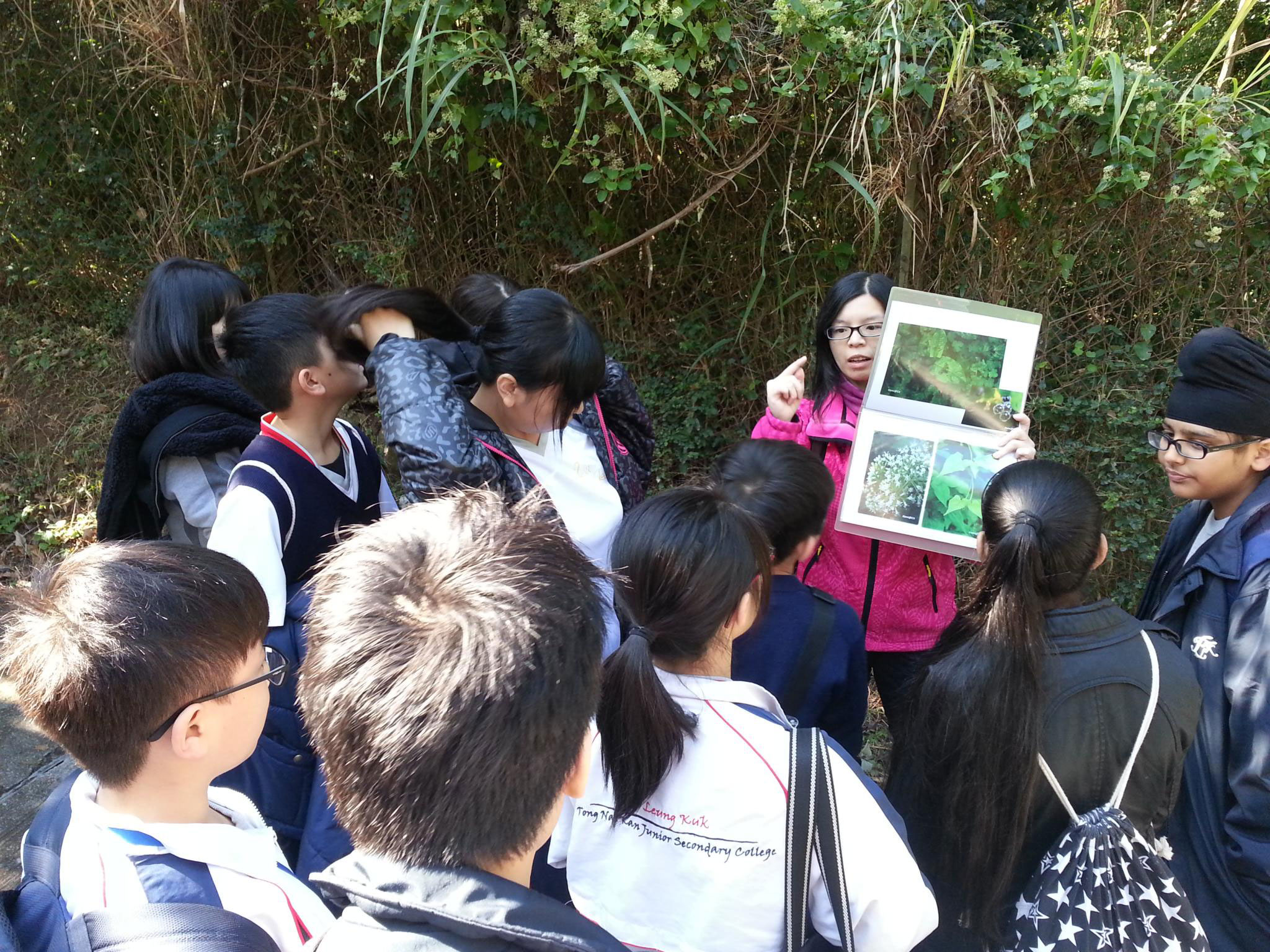 Students are paying attention to what the tour guide talking about a type of plant.