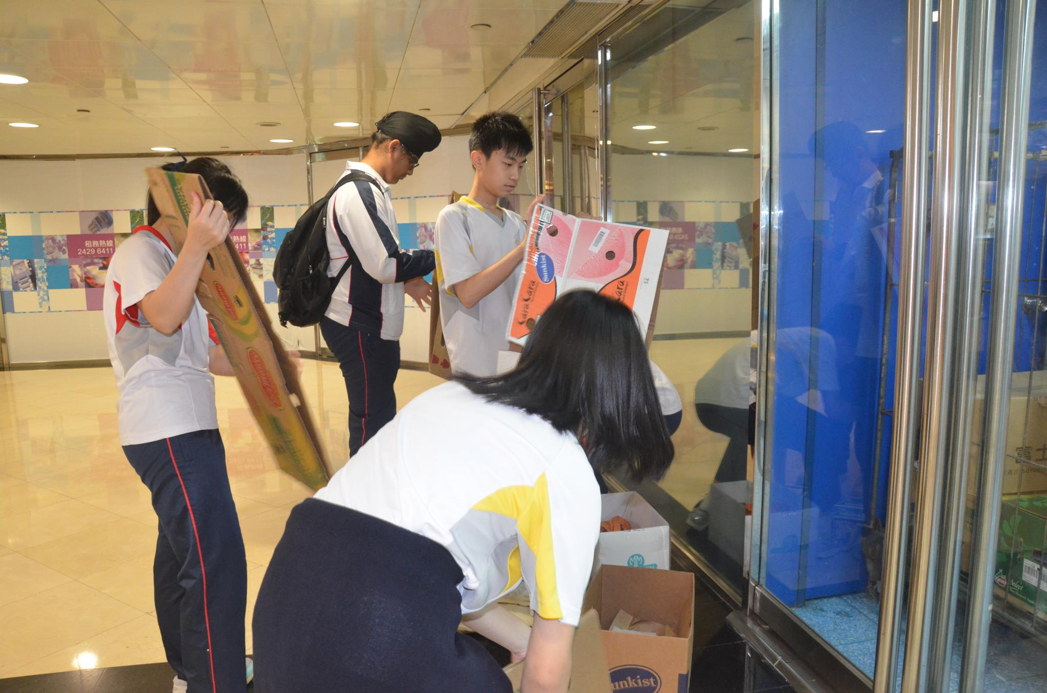 Students were picking the cardboard box and expecting to get enough money for their lunch.