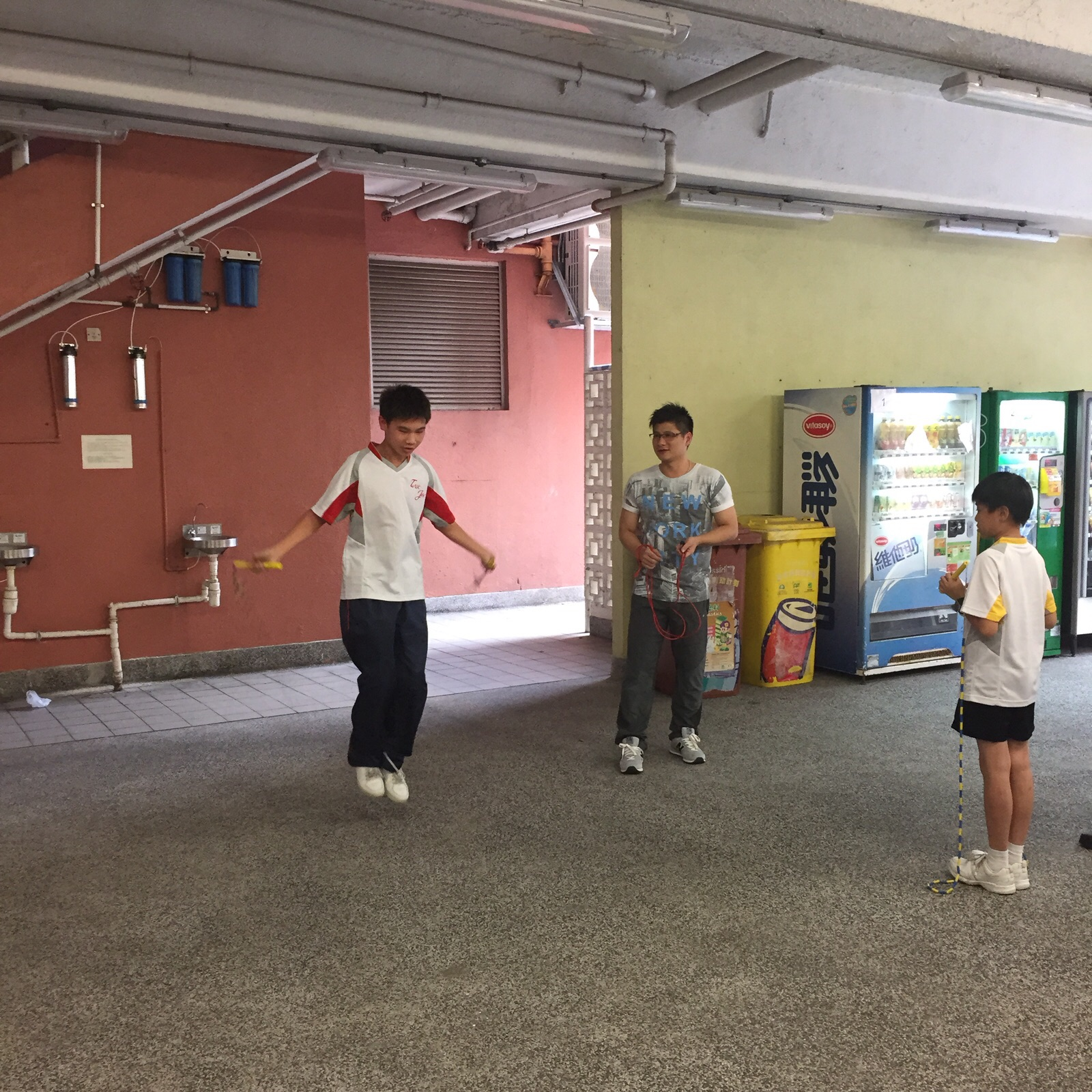 The student is doing a demonstration in the Rope Skipping Class.