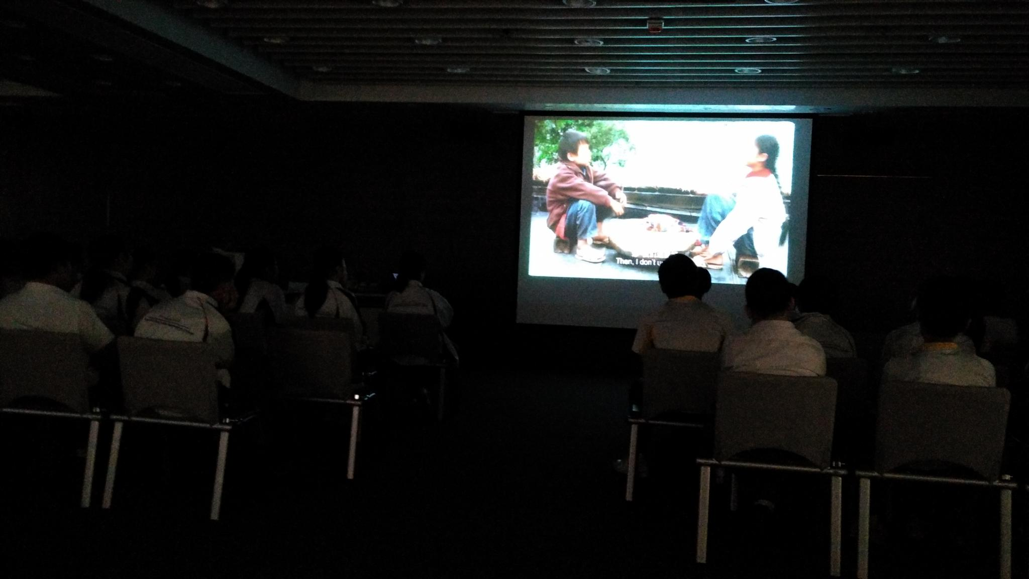 Students were watching a film which was about the study life of a student in China.