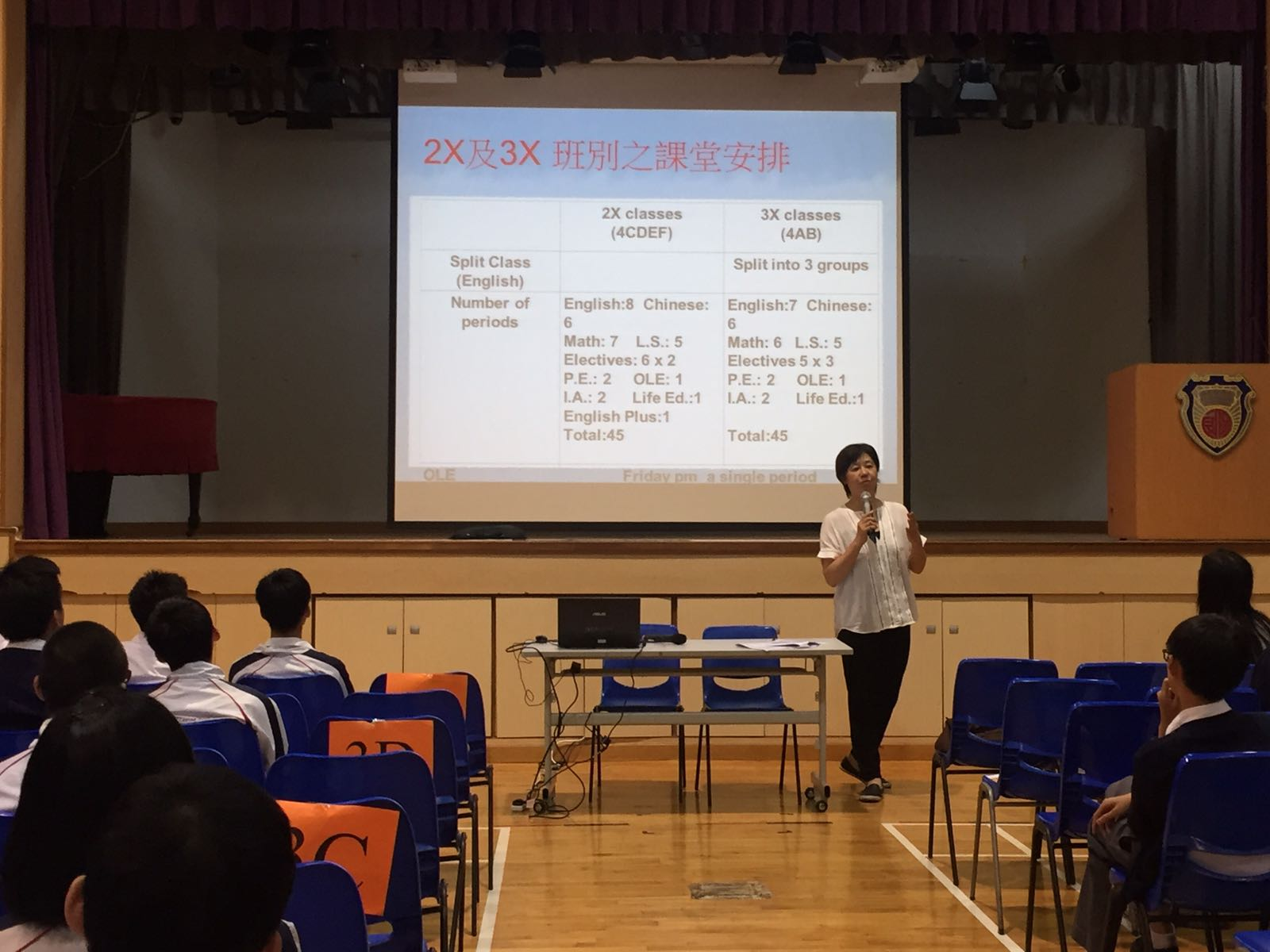 Ms Ng, the Vice-principal of SFC, is explaining the lesson arrangement for 2X and 3X combinations.