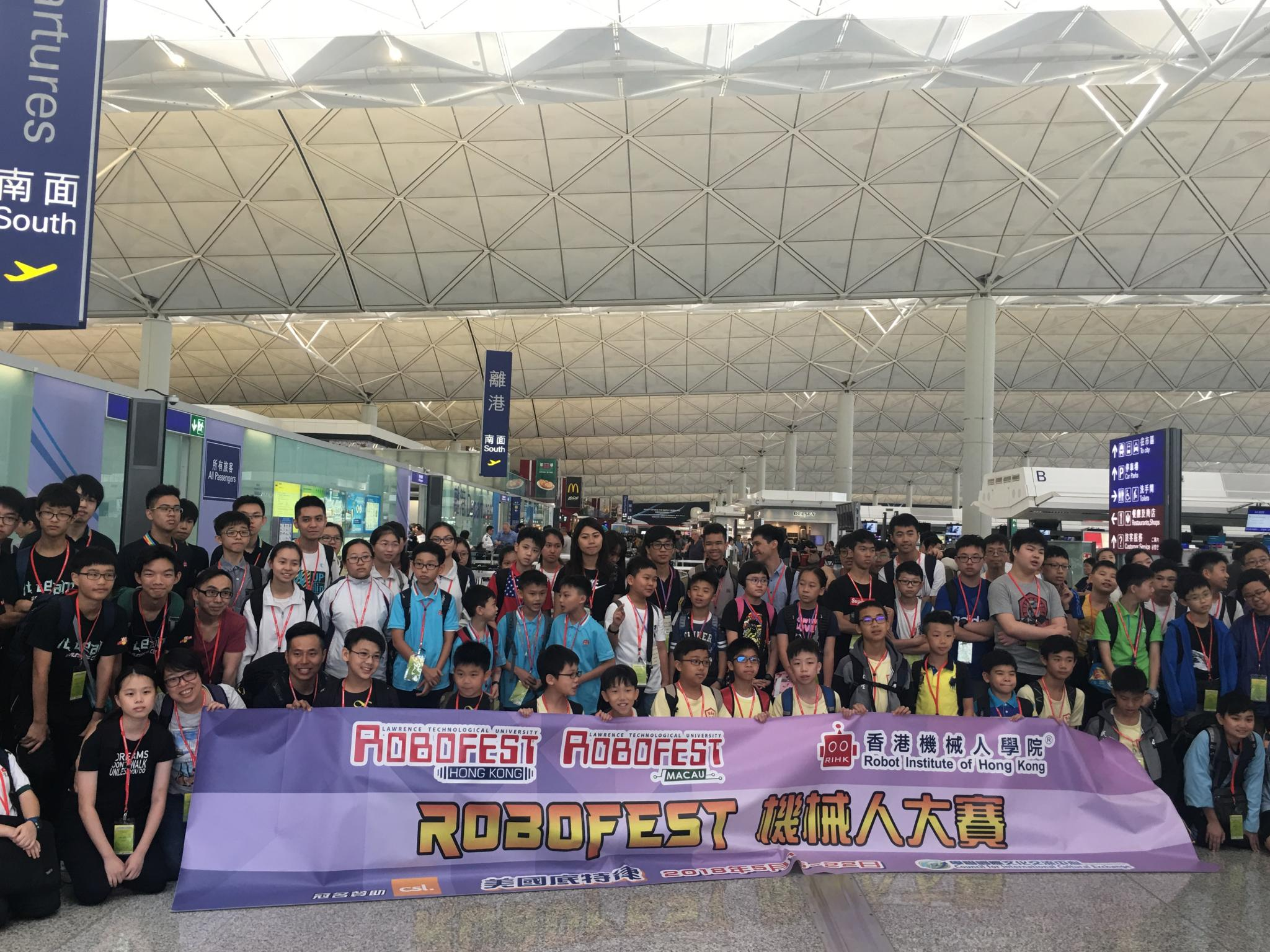 Leaving Hong Kong with participants from other schools.
