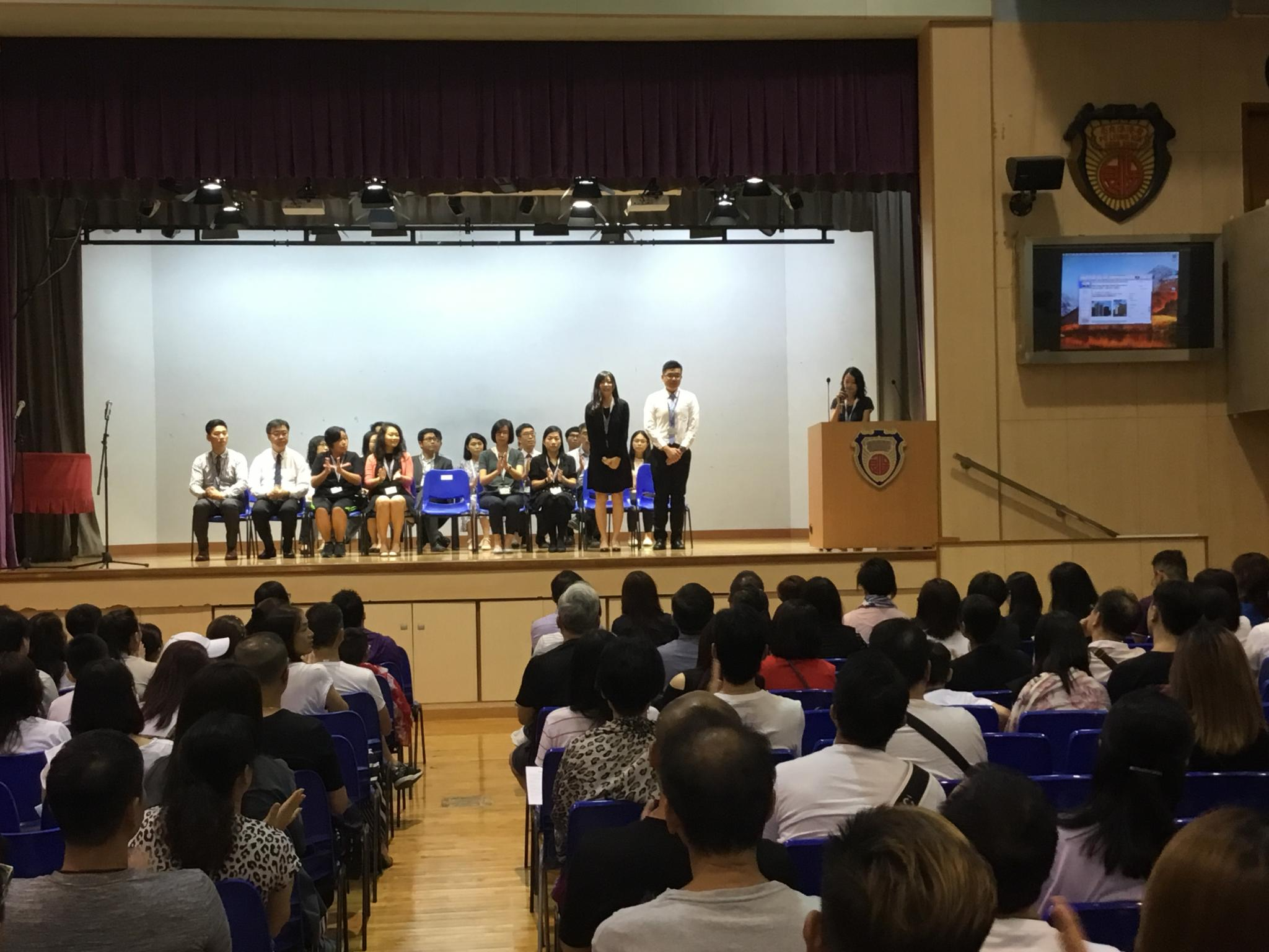 Our Vice Principal, Ms. Siu is introducing the staff on the stage.