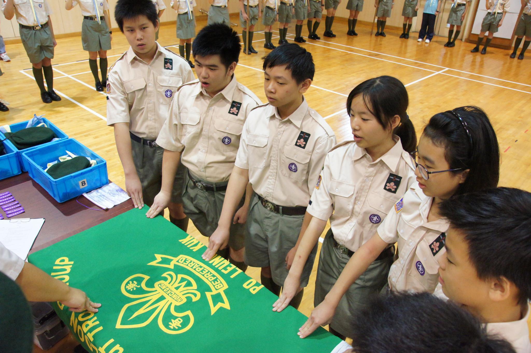 Scouts were taking an oath.