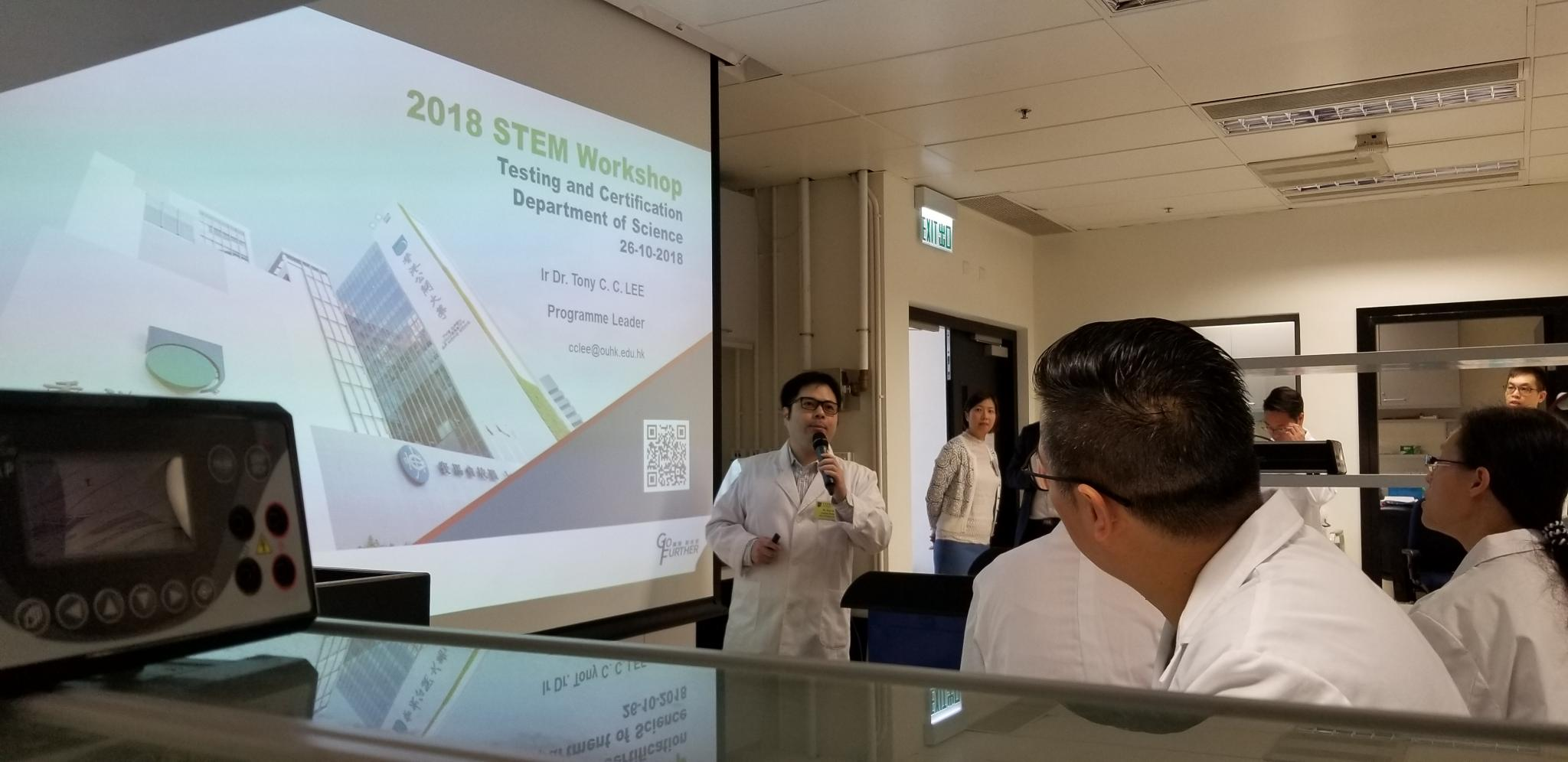 Our teachers were concentrated on the introduction of the STEM workshop (Biotechnology concentration). They were listening very carefully about the procedures and the principles behind the DNA experiment.