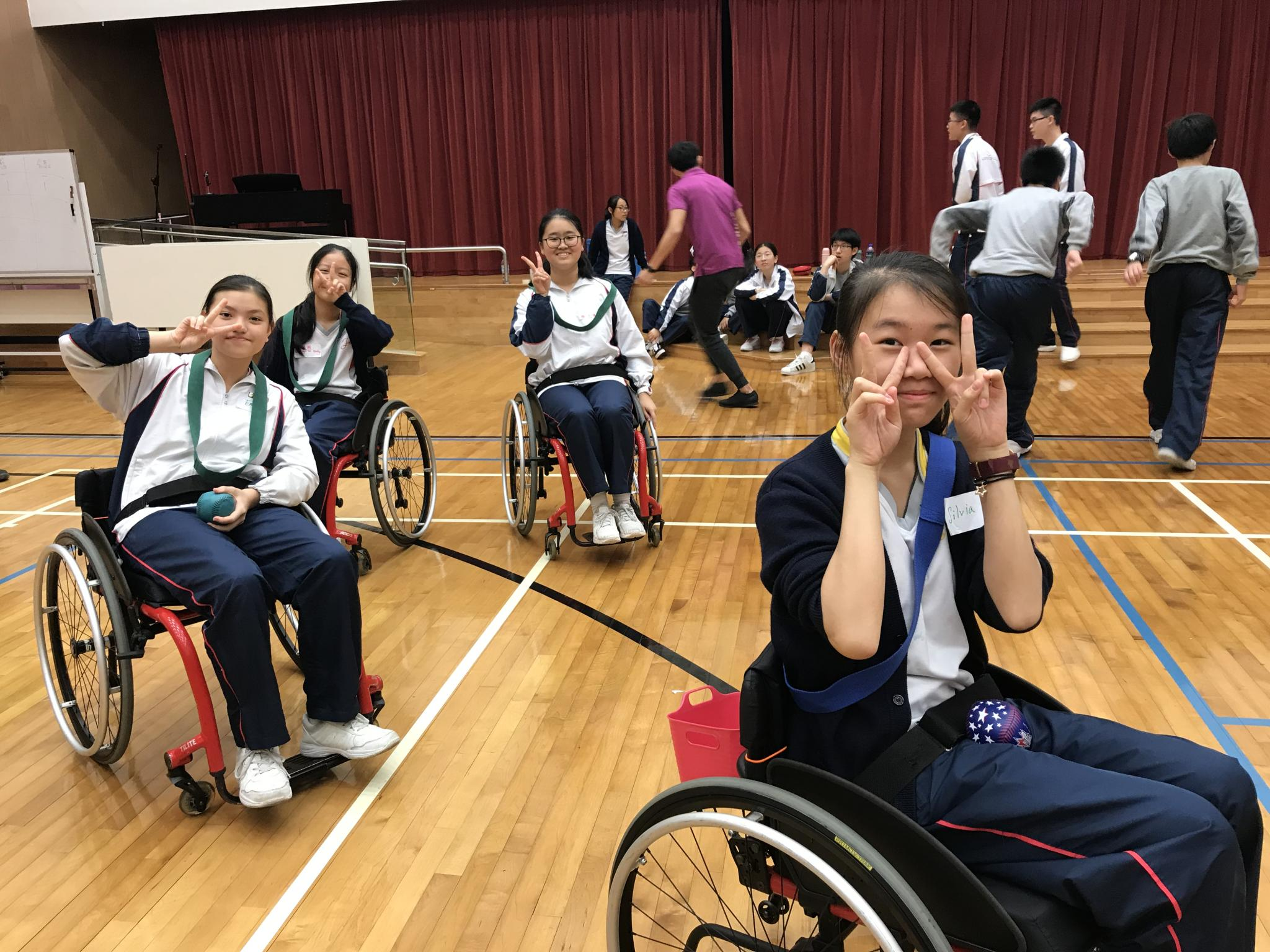 Teams needed to compete on wheelchairs in one of the team building activities.