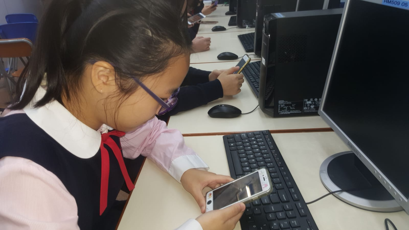 Students were downloading the apps using their mobile phone.