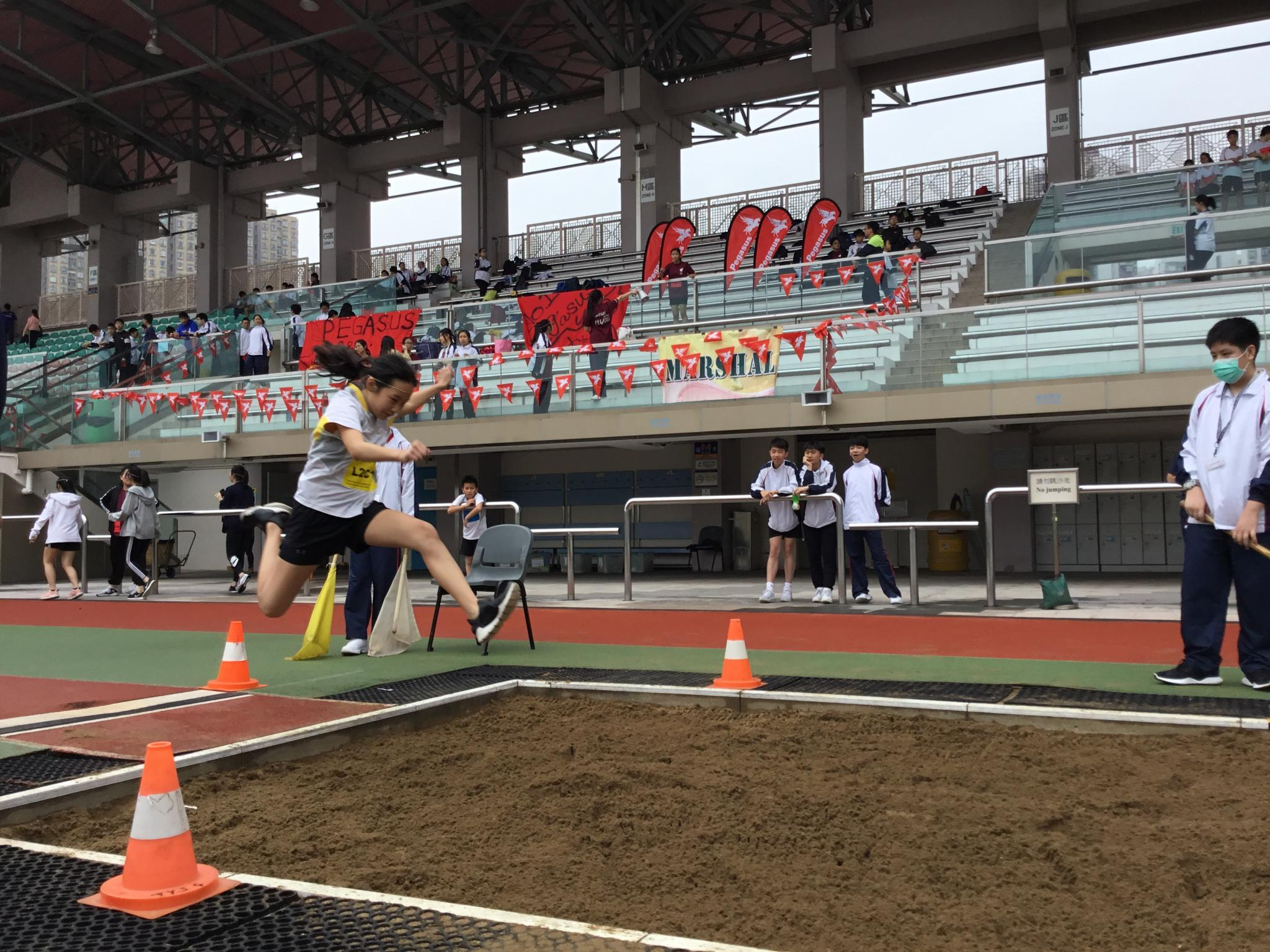 The student participated in the long jump competition.