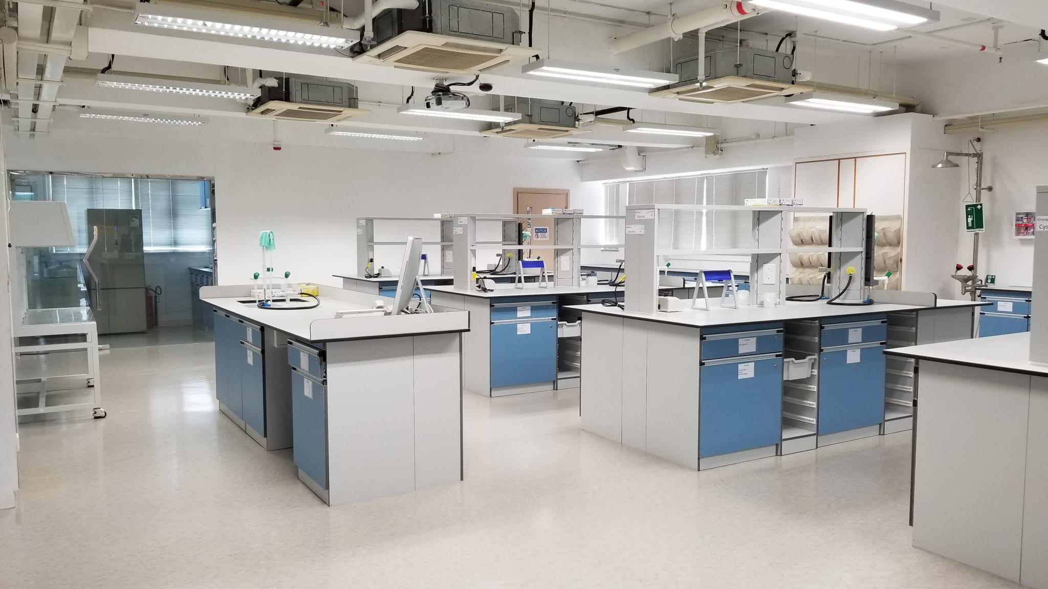 The biotechnology laboratory is about 1228 square feet with new lab tools that drive advances in biotechnology researches. It can accommodate up to 36 students to do experiments.