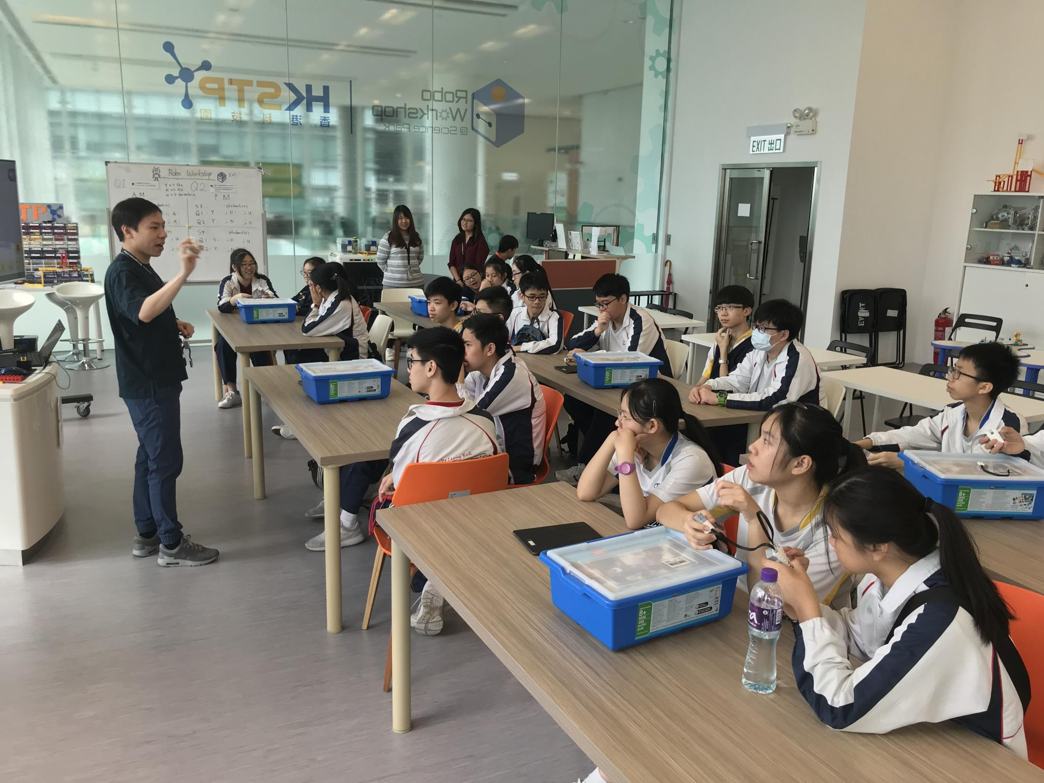 Students are learning about the scientific principle of the crane.