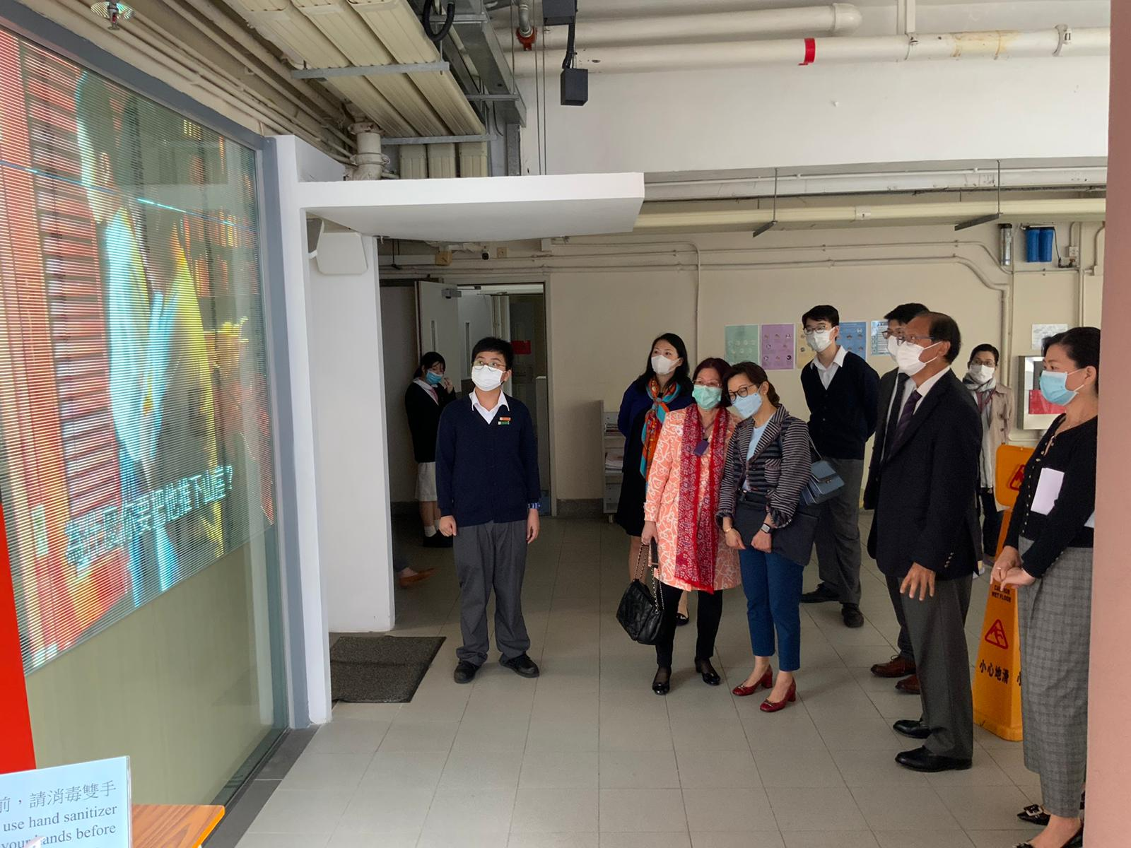 A student representative was presenting to our honourable guests at the LED wall outside our Irene Yu Library.