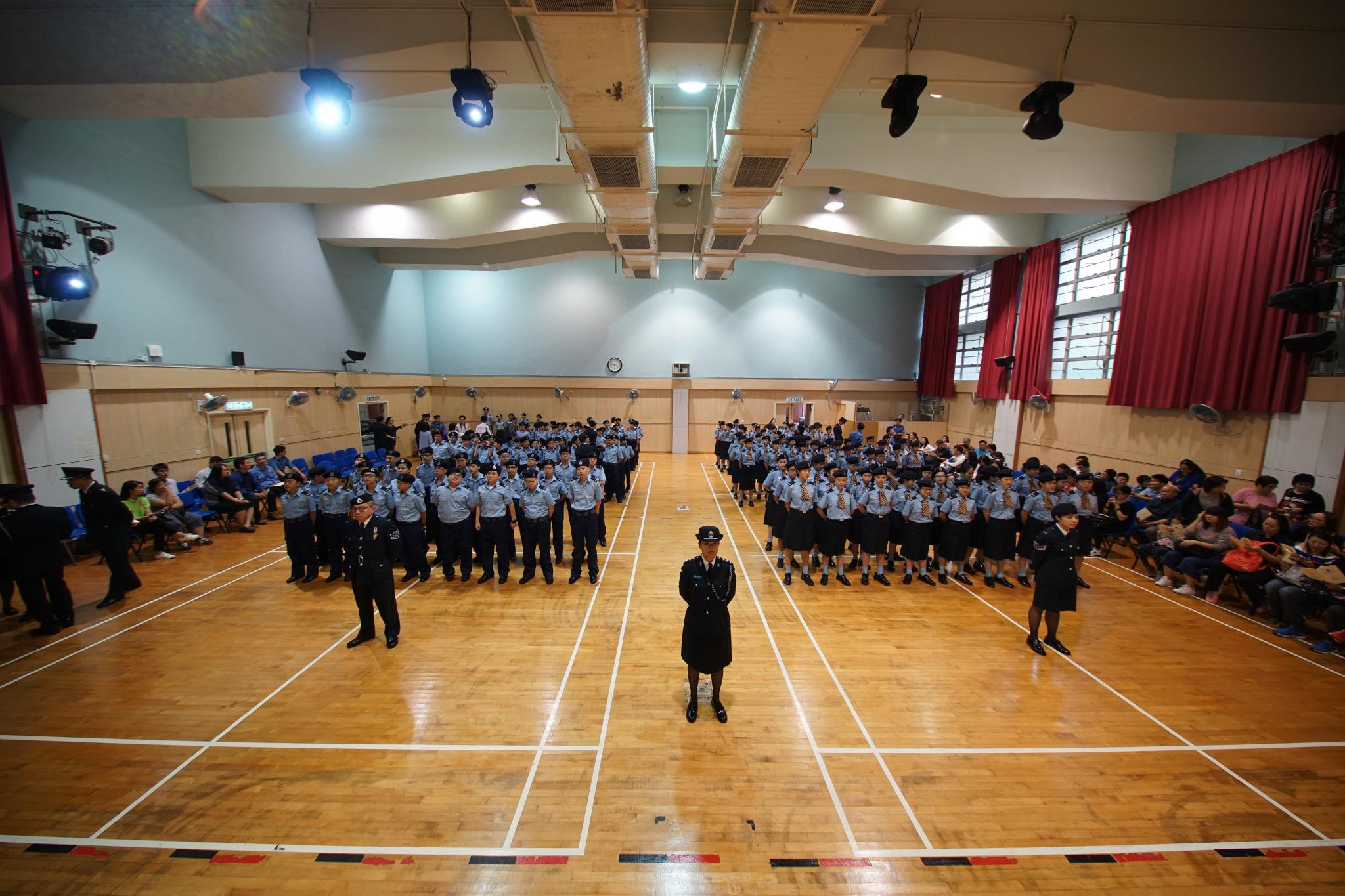 All new cadets, trainers and parents are ready for the posting ceremony.