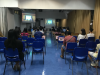 In order to minimize the risk of virus spreading, measures on enhancing social distancing are adopted. Parents in Activity room G03 are watching live broadcast of the talk.